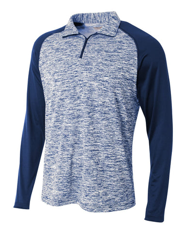 A4 N4249 1/4 Zip Long Sleeve Space Dye w/ Contrast - Navy