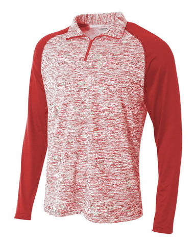 A4 N4249 1/4 Zip Long Sleeve Space Dye w/ Contrast - Scarlet