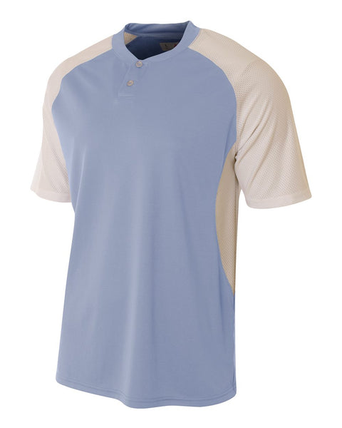 A4 N3315 2-Button Henley w/ Contrast Stretch Mesh - Light Blue White