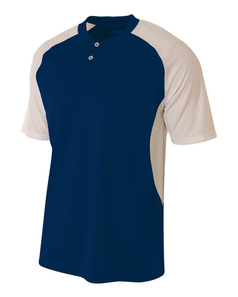 A4 N3315 2-Button Henley w/ Contrast Stretch Mesh - Navy White