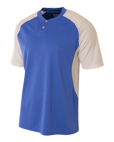 A4 N3315 2-Button Henley w/ Contrast Stretch Mesh - Royal White - HIT A Double