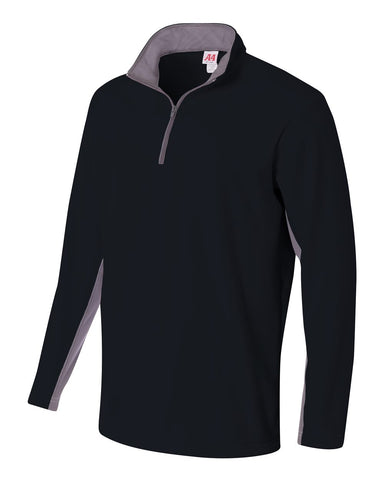 A4 N4246 1/4 Zip Color Block Fleece Jacket - Black Graphite