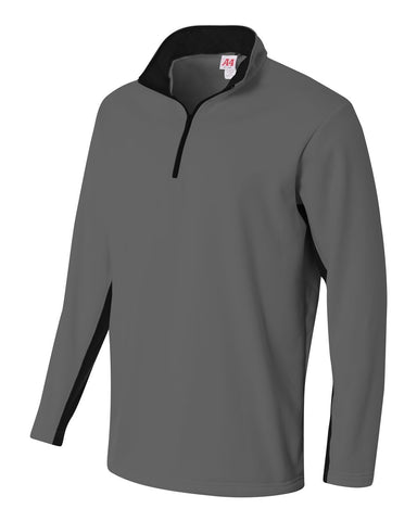 A4 N4246 1/4 Zip Color Block Fleece Jacket - Graphite Black