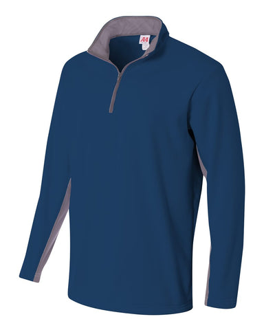 A4 N4246 1/4 Zip Color Block Fleece Jacket - Navy Graphite