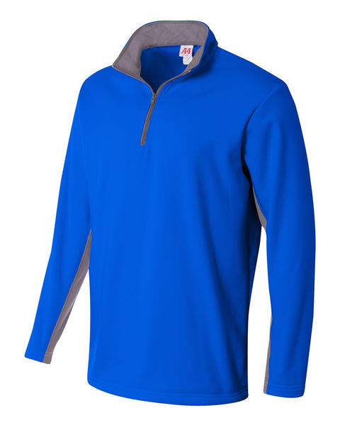A4 N4246 1/4 Zip Color Block Fleece Jacket - Royal Graphite