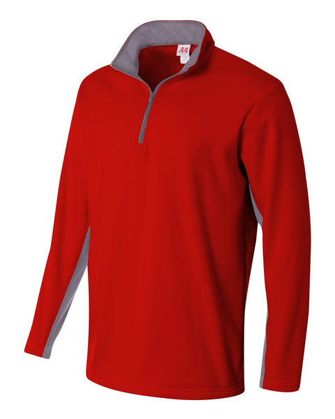 A4 N4246 1/4 Zip Color Block Fleece Jacket - Scarlet Graphite