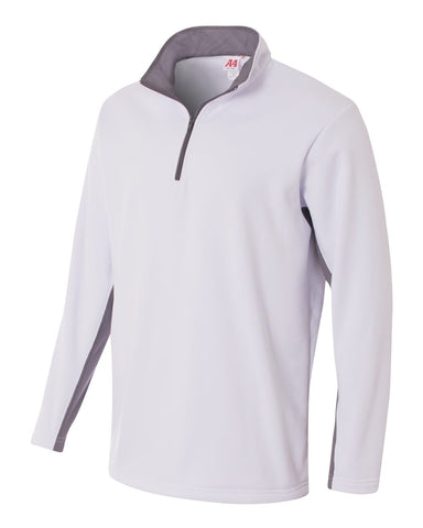 A4 N4246 1/4 Zip Color Block Fleece Jacket - White Graphite