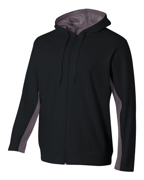 A4 N4251 Full Zip Color Block Fleece Hoodie - Black Graphite