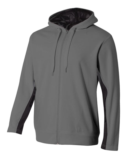 A4 N4251 Full Zip Color Block Fleece Hoodie - Graphite Black