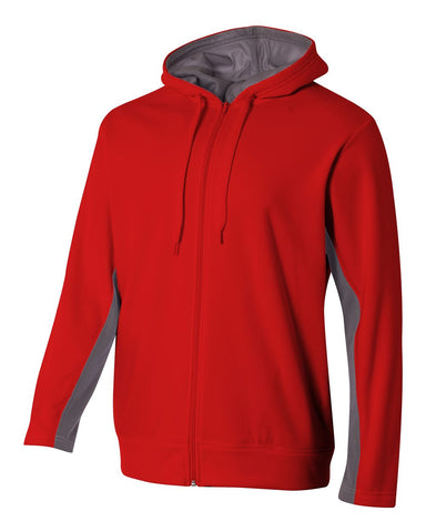A4 N4251 Full Zip Color Block Fleece Hoodie - Scarlet Graphite