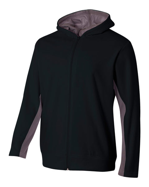 A4 NB4251 Youth Full Zip Color Block Fleece Hoodie - Black Graphite