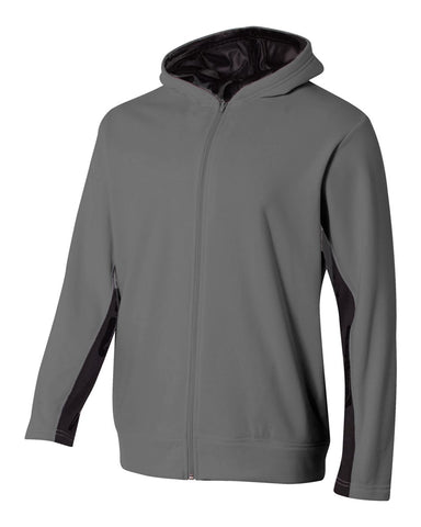 A4 NB4251 Youth Full Zip Color Block Fleece Hoodie - Graphite Black