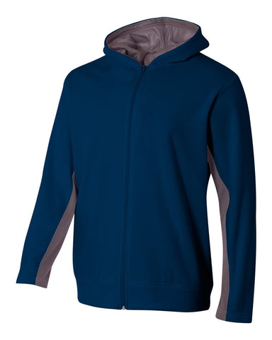 A4 NB4251 Youth Full Zip Color Block Fleece Hoodie - Navy Graphite