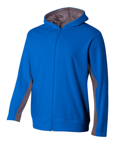 A4 NB4251 Youth Full Zip Color Block Fleece Hoodie - Royal Graphite