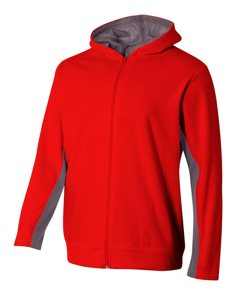 A4 NB4251 Youth Full Zip Color Block Fleece Hoodie - Scarlet Graphite