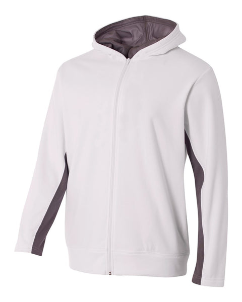 A4 NB4251 Youth Full Zip Color Block Fleece Hoodie - White Graphite