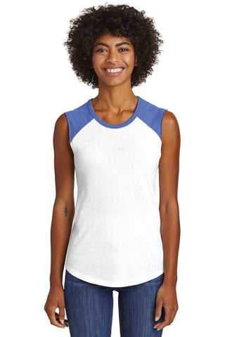 Alternative  AA5104 Women's Team Player Vintage 50/50 Tee - White Vintage Royal - HIT A Double