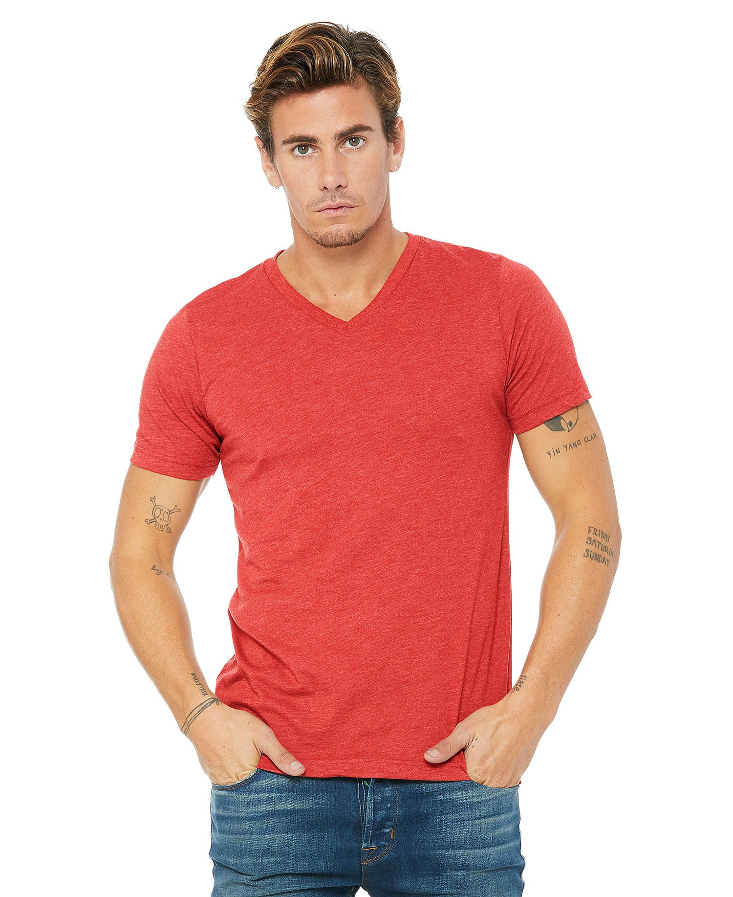 Bella + Canvas 3415 Unisex Triblend Short Sleeve V-Neck Tee - Red Triblend - HIT A Double