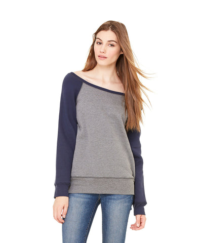 Bella + Canvas 7501 Women's Sponge Fleece Wide-Neck Sweatshirt - Deep Heather/Navy - HIT A Double