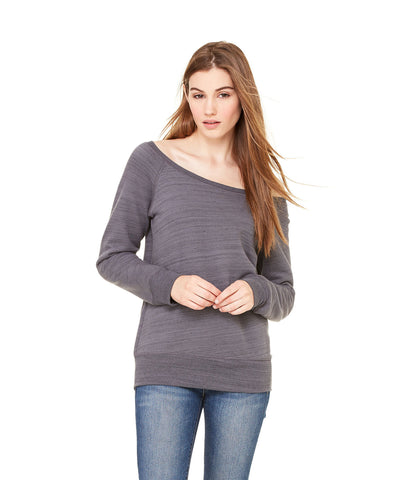 Bella + Canvas 7501 Women's Sponge Fleece Wide-Neck Sweatshirt - Dark Grey Marble Fleece - HIT A Double