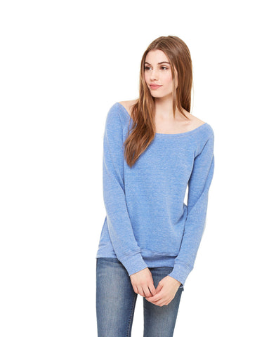 Bella + Canvas 7501 Women's Sponge Fleece Wide-Neck Sweatshirt - Blue Triblend - HIT A Double