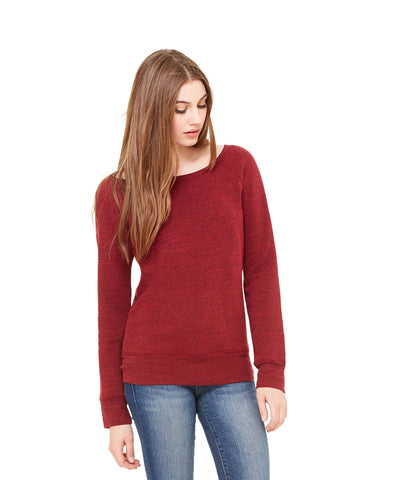 Bella + Canvas 7501 Women's Sponge Fleece Wide-Neck Sweatshirt - Cardinal Triblend - HIT A Double