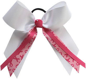 Pizzazz Awareness Bow with Streamer Ribbons - White Pink