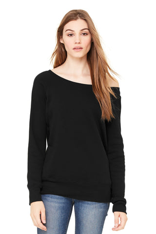 Bella + Canvas 7501 Women's Sponge Fleece Wide-Neck Sweatshirt - Black (Poly-Cotton) - HIT A Double