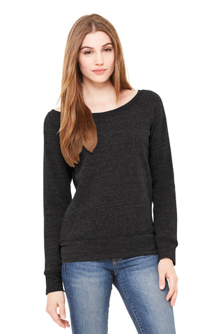 Bella + Canvas 7501 Women's Sponge Fleece Wide-Neck Sweatshirt - Charcoal-Black Triblend - HIT A Double