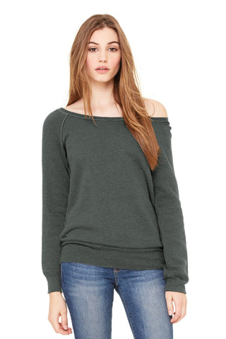 Bella + Canvas 7501 Women's Sponge Fleece Wide-Neck Sweatshirt - Deep Heather - HIT A Double