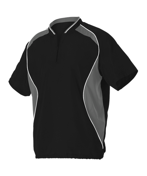 Alleson 3JSS13A Adult Short Sleeve Baseball Batters Jacket - Black Charcoal White