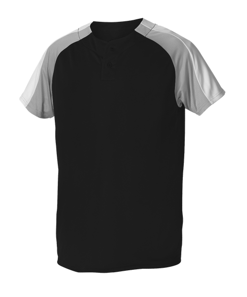 Alleson 5063CHY Youth 2 Button Henley Baseball Jersey - Black Gray White - Baseball Apparel - Hit A Double