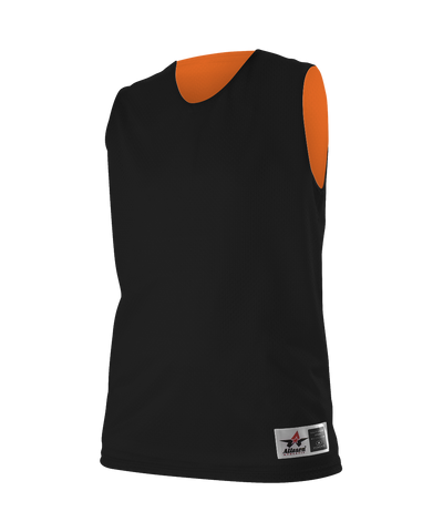 Alleson 560RW Women's Reversible Mesh Tank - Black Orange - Basketball - Hit A Double