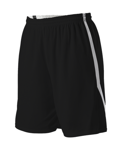 Alleson 531PRWY Girl's Reversible Basketball Short - Black White - Basketball, Lacrosse/Field Hockey, Softball Apparel, Volleyball Apparel Girls, Training/Running - Hit A Double