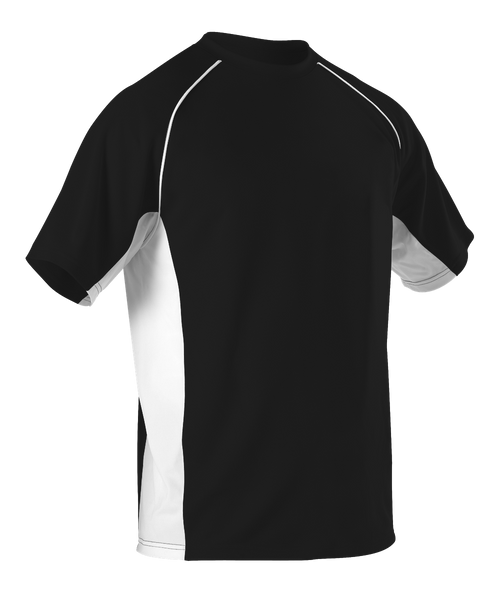 Alleson 506C1Y Youth Baseball Jersey Crew Neck - Black White - Baseball Apparel - Hit A Double