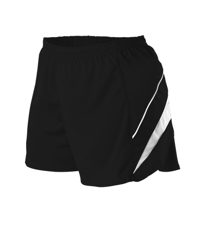 Alleson R1LFPW Women's Loose Fit Track Short - Black White - Training/Running - Hit A Double