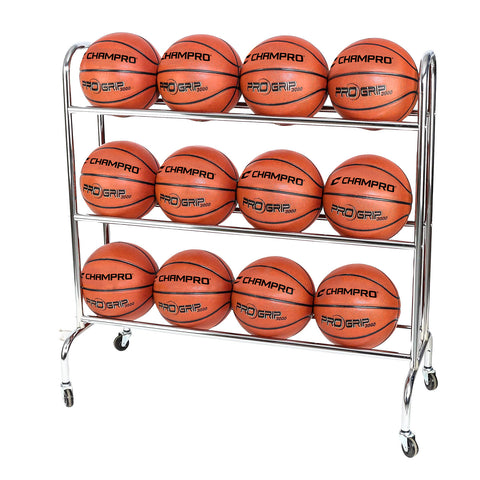 Champro BR12 12 Ball Rack with Casters Upright - HIT A Double
