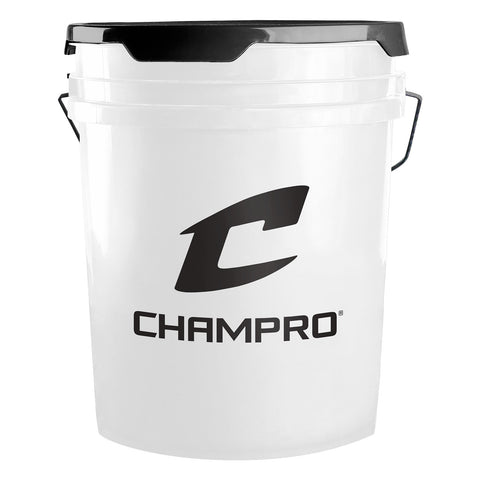 Champro BUCKET5W White Ball Bucket with Lid 5 Gallon
