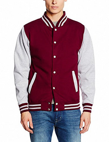 Just Hoods JHA043 Letterman Jacket - Burgundy Heather Gray