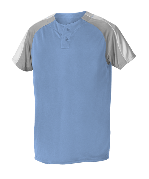 Alleson 5063CHY Youth 2 Button Henley Baseball Jersey - Carolina Blue Gray White - Baseball Apparel - Hit A Double