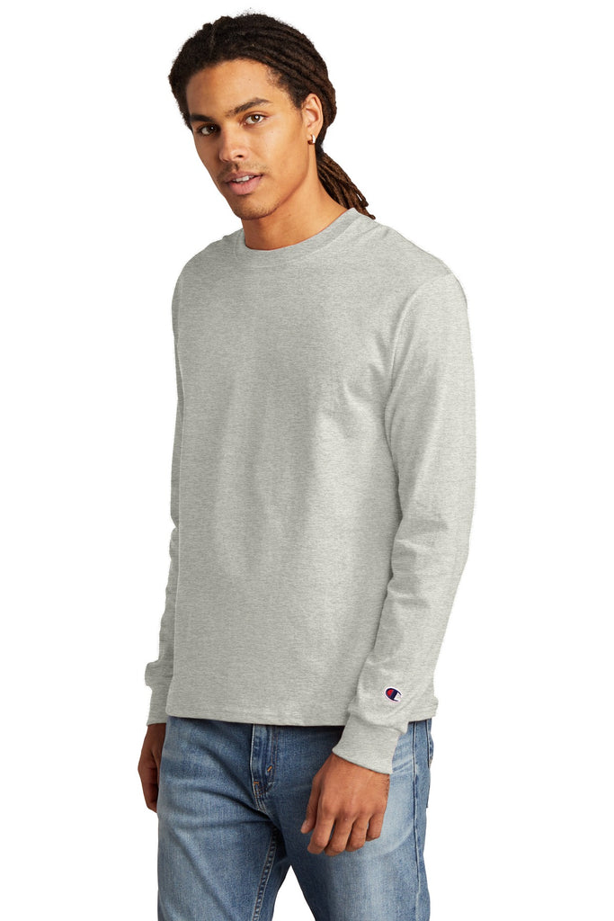 Champion CC8C Heritage 5.2 oz Jersey Long Sleeve Tee - Oxford Gray - HIT A Double