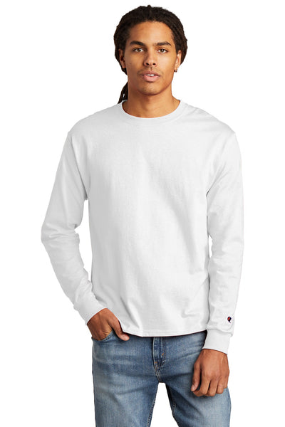Champion CC8C Heritage 5.2 oz Jersey Long Sleeve Tee - White - HIT A Double