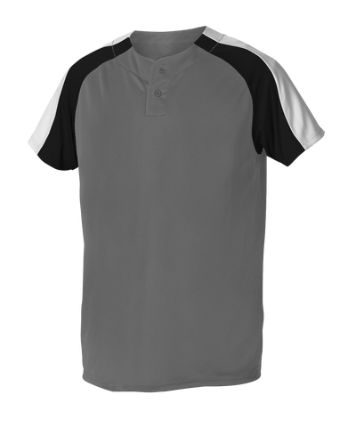 Alleson 5063CHY Youth 2 Button Henley Baseball Jersey - Charcoal Black White - Baseball Apparel - Hit A Double