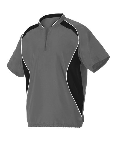 Alleson 3JSS13A Adult Short Sleeve Baseball Batters Jacket - Charcoal Black White