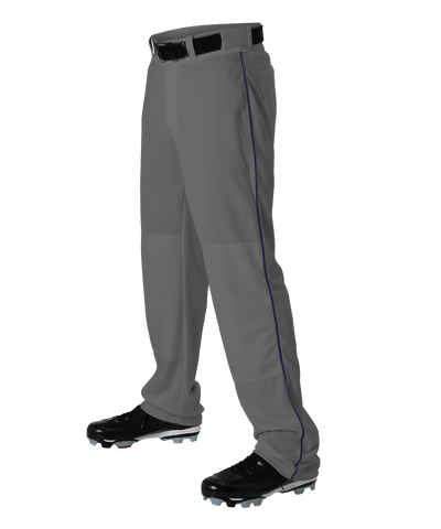 Alleson 605WLBY Youth Baseball Pant with Braid - Charcoal Navy - Baseball Apparel - Hit A Double