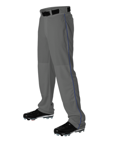 Alleson 605WLBY Youth Baseball Pant with Braid - Charcoal Royal - Baseball Apparel - Hit A Double