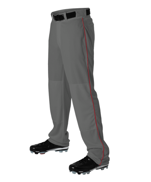 Alleson 605WLBY Youth Baseball Pant with Braid - Charcoal Scarlet - Baseball Apparel - Hit A Double