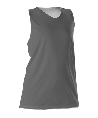 Alleson 506CRW Women's Reversible Racerback Tank - Charcoal White - Basketball, Lacrosse/Field Hockey - Hit A Double