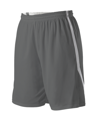 Alleson 531PRWY Girl's Reversible Basketball Short - Charcoal White - Basketball, Lacrosse/Field Hockey, Softball Apparel, Volleyball Apparel Girls, Training/Running - Hit A Double