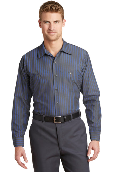 Red Kap CS10LONG Long Size, Long Sleeve Striped Industrial Work Shirt - Gray Blue - HIT A Double